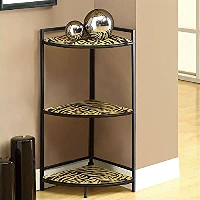 Monarch Specialties Black Metal Corner Shelf Unit with Tiger Tempered Glass Shelf