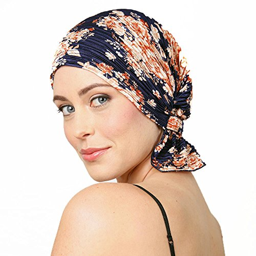 Chemo Beanies ® Navy Floral Pleated Knit