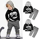 cloths Orangeskycn Long Sleeve Hoodie, Toddler Kids Baby Girls Boys Dinosaur Bones Clothes Set Hooded Tops+Pants Outfit (3T, Black)