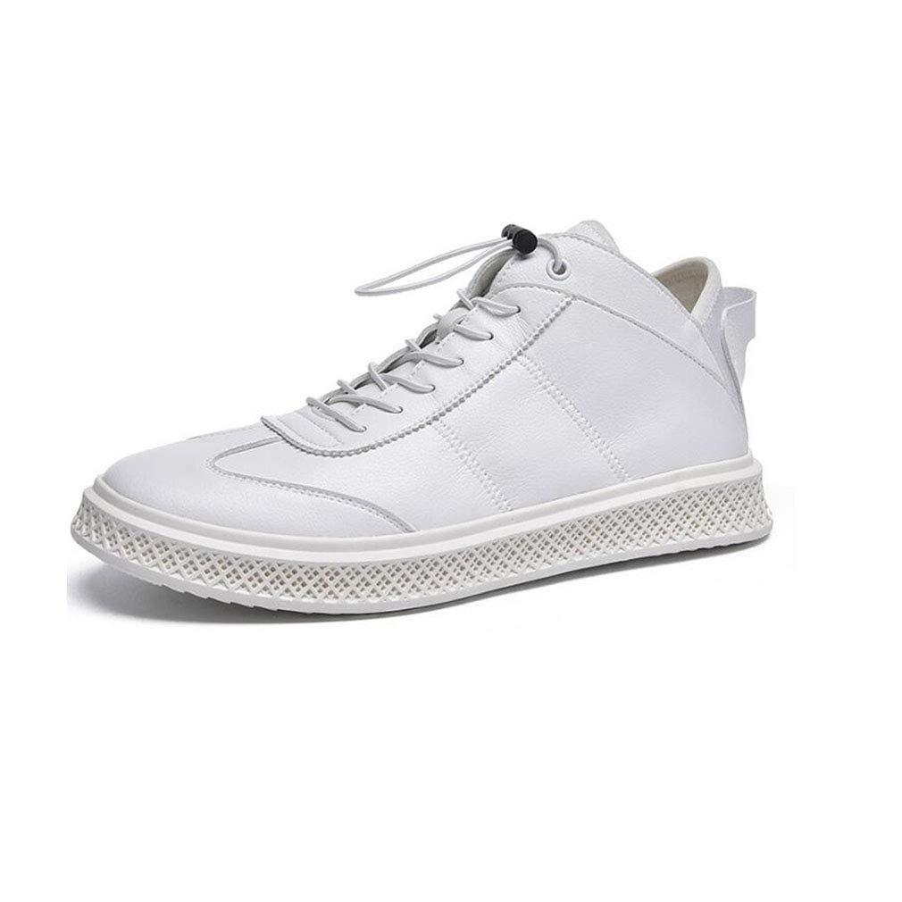 YCSD Herren Leder High Top Fashion Turnschuhe Frühling Und Winter Freizeitschuhe Board Schuh (Farbe   Weiß, größe   EU42 UK8.5 CN43)