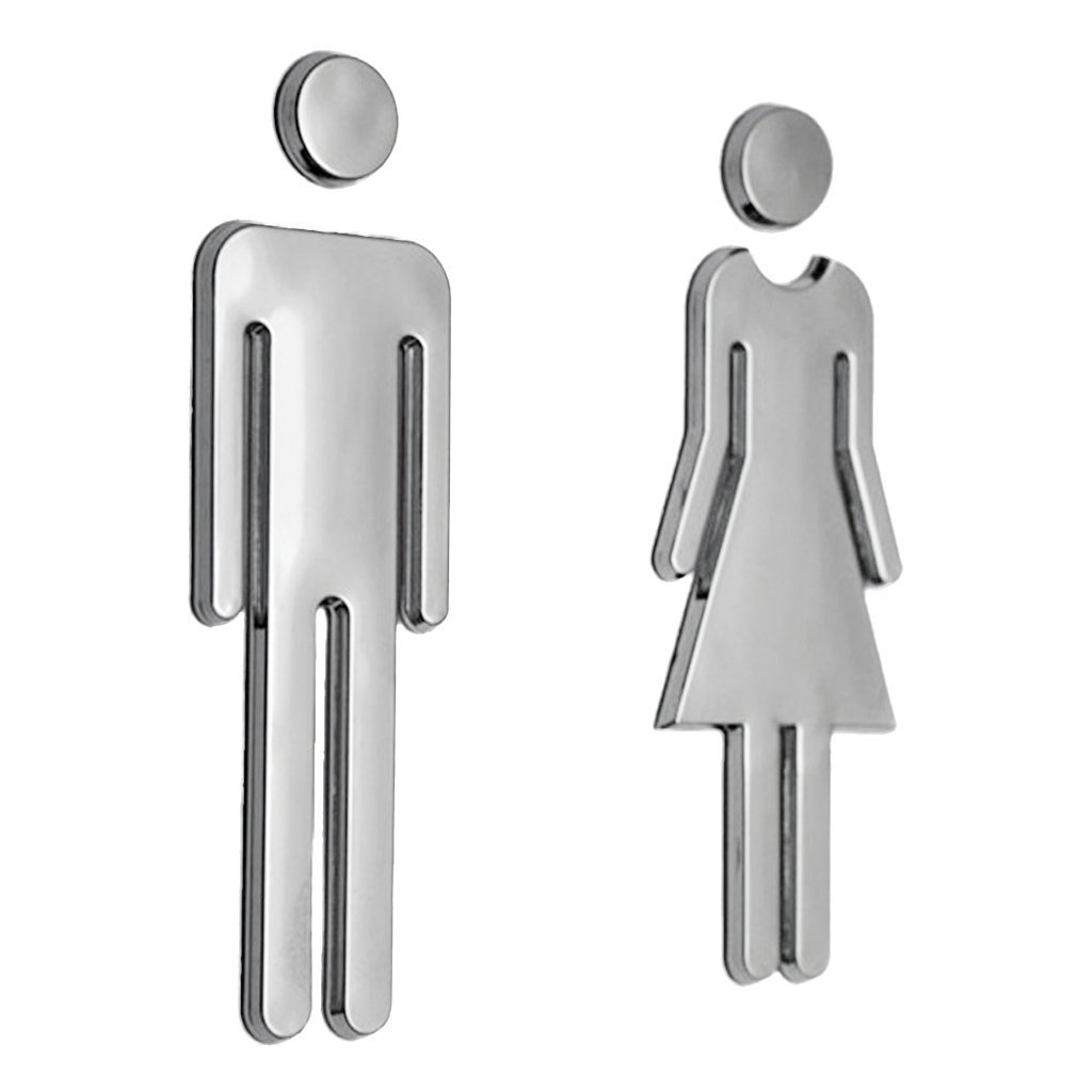 Kytree Self Adhesive Signs Man & Woman's Room-Washroom Restroom Door Wall Sticker Shop Cafe Office Restaurant (Silver)