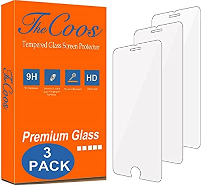 TheCoos [3-Pack] 9H Tempered Glass Screen Protector for Apple iPhone 8 Plus and iPhone 7 Plus