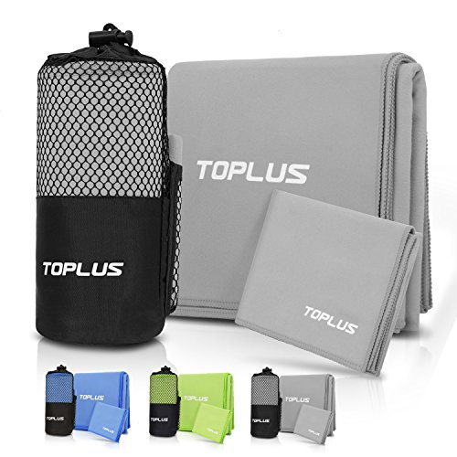 Toplus 2 Pack Microfiber Towel, Super Absorbent Fast Drying Towel for Swimming, Camping, Bathing, Travel and More with Mesh Portable Bag, Gray