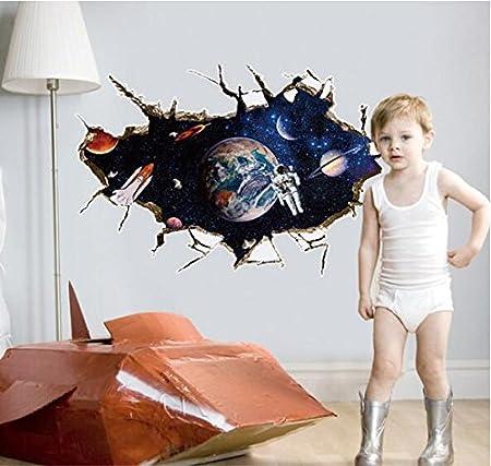 3d astronaut wall decor space astronaut zooarts 3d outer space astronaut wall stickers removable decals art decor vinyl kids child room