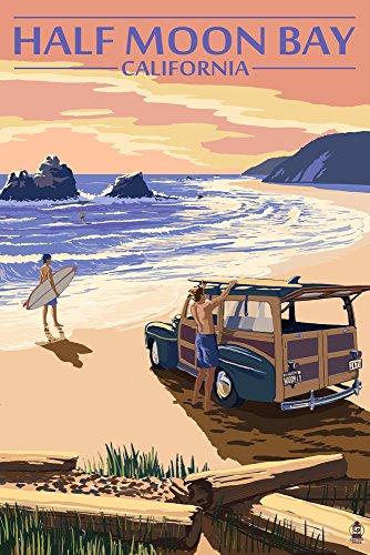 Half Moon Bay, California - Woody On The Beach (16x24 Fine Art Giclee Gallery Print, Home Wall Decor Artwork -
