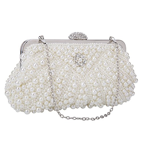 Beaded Evening Shoes (Baglamor Women's Evening Bag Pearl Crystal Bag Shell Handbag fit Wedding Party Beautiful Luxury Purses (White))