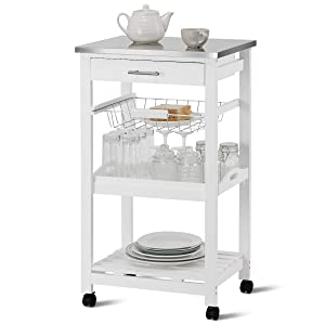 Giantex Kitchen Island Cart Rolling Kitchen Trolley with Stainless Steel Tabletop Utility Storage Cart Restaurant Hotel Serving Cart with Casters, Drawer, Basket, Removable Dining and Shelf (White)
