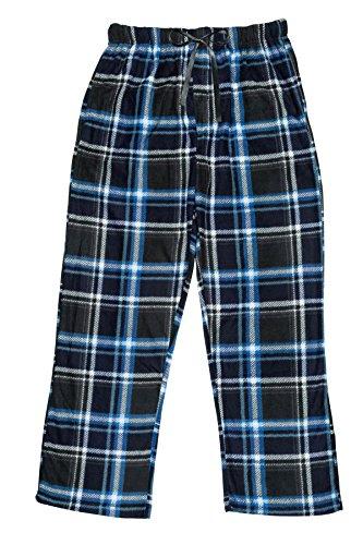 Super Soft Fleece Pants (North 15 Men's Super Soft, Plaid Polar Fleece Lounge Pants-1225-Design3-Lg)