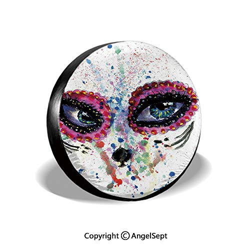 Tire Cover,Spooky Big Eyes Cat Face Girl Portrait Artistic Ceremonial Celebration,Multicolor,for Jeep,Trailer, RV, SUV and Many Vehicle 16