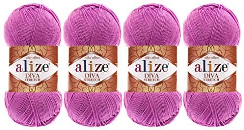 92% Microfiber Acrylic, 8% Pbt Elastic Stretch Yarn Alize Diva Stretch Thread Crochet Hand Knitting Turkish Yarn Lot of 4skn 400gr 1752yds (378-Orchid)