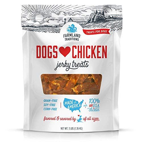 Farmland Traditions Usa Made Chicken Jerky Dog Treats, 3 Lb. (Moon Half Duck)