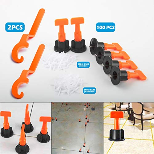 Premium Tile Leveling System Kit,100pcs Tile Leveler Spacers, 2 Special Wrenches,Reusable Tile Installation Tool Kit for Construction,Like Building Walls & Floors.(2mm and 1.5mm Tile Spacers) (Like Tiles Floor)
