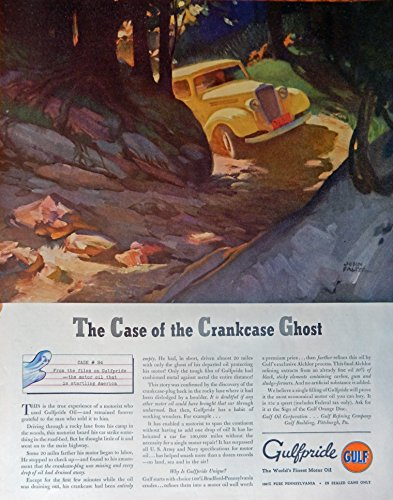 Gulfpride Motor Oil, 30's Print ad. Full Page Color Illustration (art by John Falter, the case of the crankcase ghost) Original Vintage 1937 The Saturday Evening Post Magazine Print Art Case Cases Crankcase
