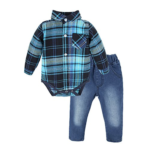 BIG ELEPHANT Baby Boys'2 Pieces Long Sleeve Plaid Shirt Pant Set Style G T10-70 3-6 Months
