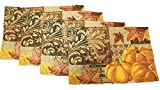 Twisted Anchor Trading Co Set of 4 Fall Tapestry Harvest Pumpkin Placemats - Argyle Accent and Sparkly Thread Tapestry Style Autumn Home Decor Set - Comes in an Organza Bag So Its Ready For Giving!