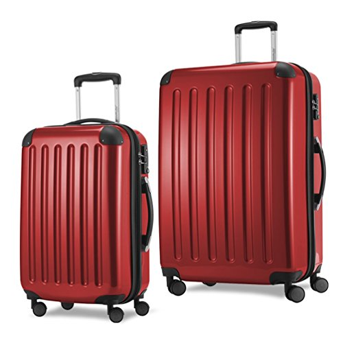 HAUPTSTADTKOFFER Luggages Sets Glossy Suitcase Sets Hardside Spinner Trolley Expandable TSA (20'28') Red by Hauptstadtkoffer