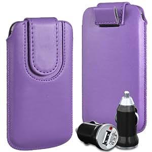 N4U Online Premium PU tirón del cuero del tirón Tab bolsa de la cubierta del caso con la correa magnética Cierre y cargador de coche USB para HTC Wildfire - púrpura