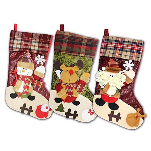 3D Plaid Christmas Stockings Set of 3, 21 inch Plush Big Candy Hanging Bags Socks Design with knit Santa Reindeer Snowman for Family Kids to Decor Xmas Tree, Mantel (Plaid)