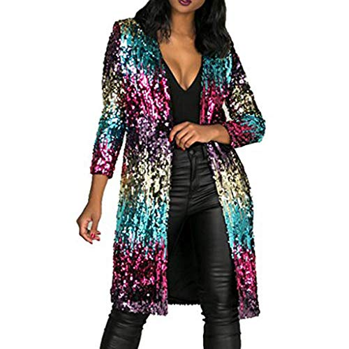 Casual Autumn Cover Up Long Sleeve Sequins Metallic Open Front Cape Cardigan Coat for Women (XL, Multicolor)
