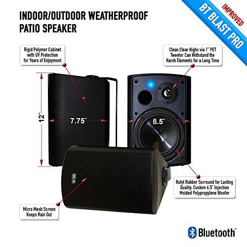 Bluetooth 6.50'' Indoor/Outdoor Weatherproof Patio Speakers, Wireless Outdoor Speakers (Black- pair),by Sound Appeal by Sound Appeal (Image #3)