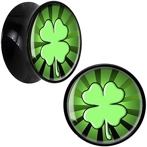 (Body Candy Black Acrylic Lucky Clover Saddle Ear Gauge Plug Pair)