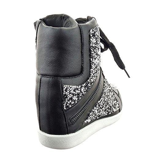 Sopily - Scarpe da Moda Sneaker Zeppa alti alla caviglia donna strass zip Tacco zeppa 7 CM - soletta tessuto - Nero