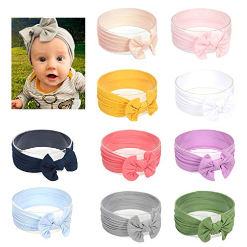 DANMY Baby Girl Nylon Headbands Newborn Infant Toddler Hairbands and Bows Child Hair Accessories (Nylon Bow -