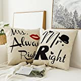 Miulee Pack of 2, Valentine's Day Mr.Right&Mrs.Always Right Series Cotton Linen Decorative Throw Pillow Case Cushion Cover Pillowcase for Sofa Bed Car 18 x 18 Inch 45 x 45 Cm