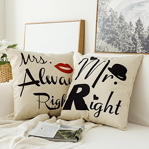 Miulee Pack of 2, Valentine's Day Mr.RightMrs.Always Right Series Cotton Linen Decorative Throw Pillow Case Cushion Cover Pillowcase for Sofa Bed Car 18 x 18 Inch 45 x 45 Cm