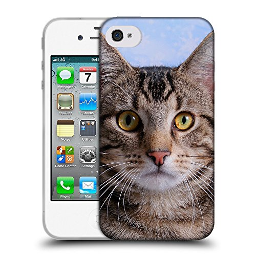 Just Phone Cases Coque de Protection TPU Silicone Case pour // V00004173 Chat a une image de logo // Apple iPhone 4 4S 4G
