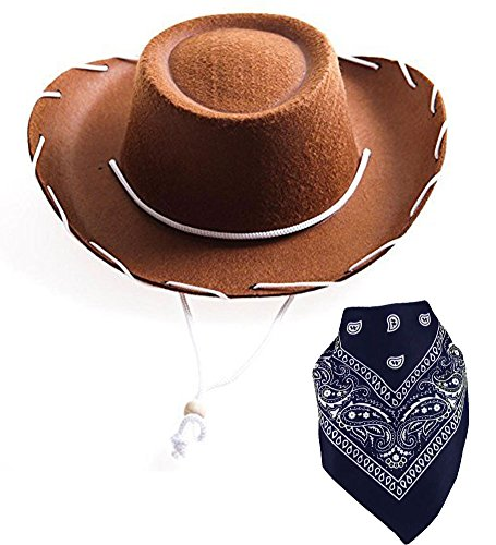 [Brown Children Felt Cowboy Hat With White Cord Lacing & Navy Paisley Bandanna] (Woody Accessories)