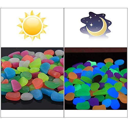 (Solar 300 Pcs Colorful Glowing Stones,Glowing Garden Resin Pebbles,Garden Decor Glowing Stones Luminous Rocks for Outdoor Walkway Driveway,Luminous Stones for Plants Pot, Fish Tank,Swimming Pool etc)