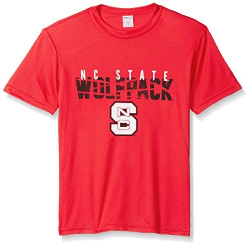 NCAA North Carolina State Wolfpack Youth Boys Destroyed Short sleeve Polyester Competitor T-Shirt, Youth Small,Red (Wolfpack Baseball College)