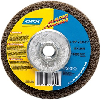 Norton Bear-Tex Rapid Finish Depressed Center Abrasive Most Aggressive Wheel, Type 27, Fiber Backing, 5/8-11'' Arbor, Silicon Carbide, 4-1/2'' Diameter (Pack of 10) by Norton Abrasives - St. Gobain