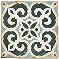 """SomerTile FPEARCBK Modele Ceramic Floor and Wall Tile, 4.875"""" x 4.875"""", Blue/Cream/White/Brown"""