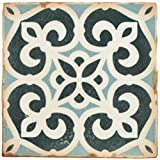 """tile floor patterns  FPEARCBK Modele Ceramic Floor and Wall Tile, 4.875"""" x 4.875"""", Blue/Cream/White/Brown"""