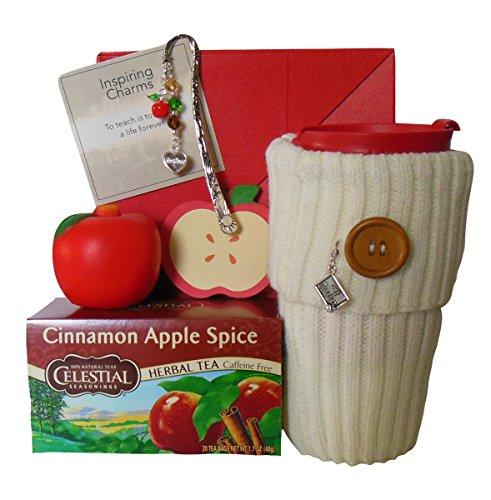 Teacher Thank You Gift Travel Mug Sweater Sleeve and Cinnamon Apple Spice Tea Celestial Seasonings Caffeine Free Herbal