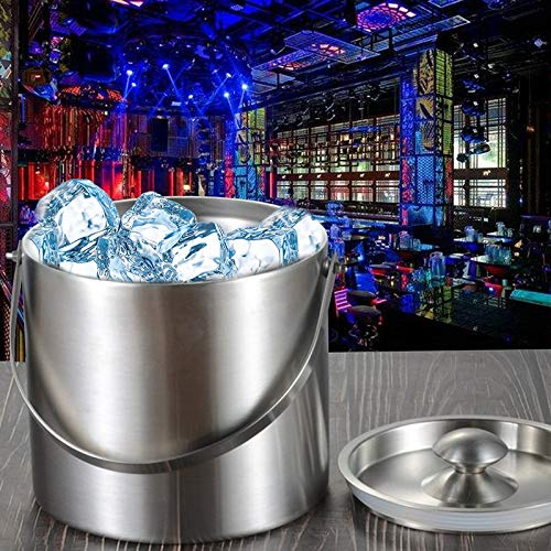 SODIAL 3L 2 Tier Stainless Steel Insulation Ice Bucket with Lid Handle for Wine Champagne Bar Ktv