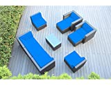 Ohana 10-Piece Outdoor Patio Furniture Sectional Conversation Set, Black Wicker with Blue Cushions – No Assembly with Free Patio Cover Review