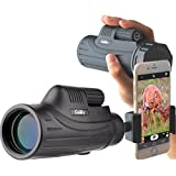 Gosky 10X42 Monocular Smartphone Mount Kit -for Birding Travelling Wildlife Secenery Concerts Ball Games-BAK4 Prism FMC Lens Telescope for Bright Crisp Images- Record Beauty in The Phone