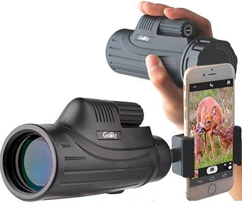 Gosky Pioneer 10X42 Monocular Smartphone Mount Kit -for Birding Travelling Wildlife Secenery Concerts Ball Games-BAK4 Prism FMC Lens Telescope for Bright Crisp Images- Record Beauty in The Phone