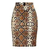 MISYAA Womens Skirts Sequin Bodycon Snake Patterned High Waisted Pencil Skirt Slim-Fit Mini Skirts Gold