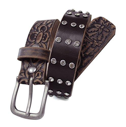 [LWFEB - Ladies Western Rhinestone Studded & Embossed Floral Distressed Pattern Full grain Leather Belt (L (fits 36