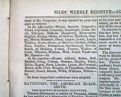 Rare 1837 ABRAHAM LINCOLN Very Early Mention & MORMONS Joe Smith 1837 Newspaper NILES' WEEKLY REGISTER, Baltimore, Aug. 12, 1837