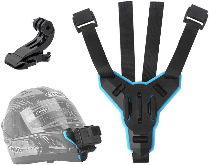 TELESIN Helmet Chin Mount, Motorcycle Strap Holder for GoPro Hero 8, Hero (2018), Hero 7, Hero 6 Hero 5 Black Hero 4/3+/LCD Session, Insta 360 One R, AKASO, Polaroid, Lite, APEMAN, DJI OSMO Action