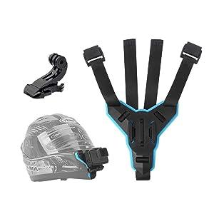 TELESIN Helmet Chin Mount, Motorcycle Helmet Strap for GoPro Hero (2018), Hero 7, Hero 6 Hero 5 Black Hero 4/3+/LCD Session, 360 Camera, AKASO, Campark, Polaroid, Lite, APEMAN, DJI OSMO ACTION