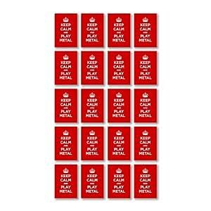 Pegatinas de vinilo brillante: KEEP CALM juego METAL rojo rubí escarlata WW2 parodia muestra de la Segunda Guerra Mundial (20 pegatinas, 4,5 x 3 cm/1,8 x 1,2 en)