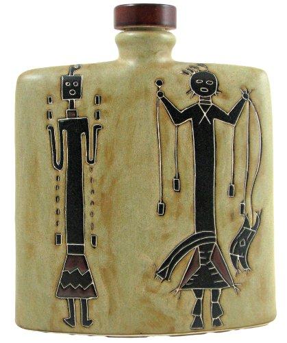 Mara Ceramic Stoneware 24 Oz. Yei Figures Square Decanter