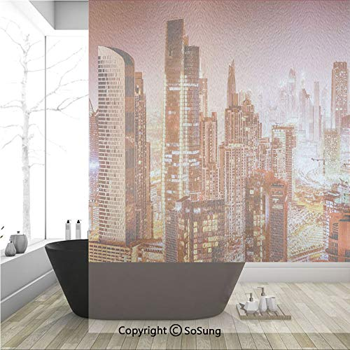 (3D Decorative Privacy Window Films,Dubai at Night Cityscape with Tall Skyscrapers Panorama Picture Arabian Peninsula,No-Glue Self Static Cling Glass film for Home Bedroom Bathroom Kitchen Office 36x48)