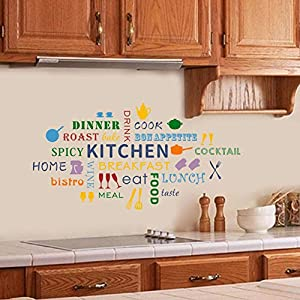 IARTTOP Colorful Kitchen Quote Wall Decal, Kitchenware Cooking Utensil Wall Sticker for Kitchen Dining Room Restaurant Decor